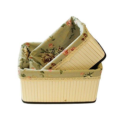 Saumota Foldable Bamboo Home Decorative Storage Baskets Shelves Dresser Organizer Storage Box With Lined-FlowerMedium