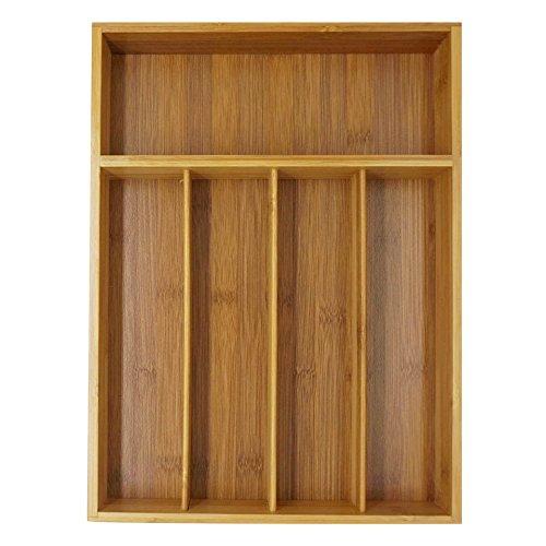 Rightleft 5-slot Bamboo Kitchen Utensil Drawer Organizer Tray Cutlery Drawer Organizer Tray Layout for Utensils Utility Accessories Storage 1410252 Inch