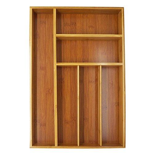 Rightleft 6-slot Bamboo Kitchen Utensil Drawer Organizer Tray