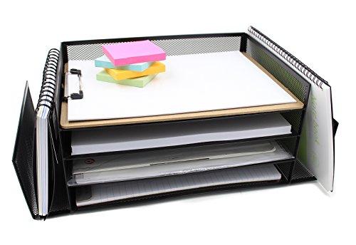 EasyPAG Mesh Desk Organizer Tray 4 Horizontal File Holder and 2 Upright Letter Sorter  Black