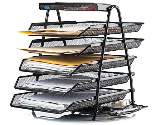 Halter Steel Mesh Desktop 5-Tier Shelf Tray Organizer - Letter-Size - Black