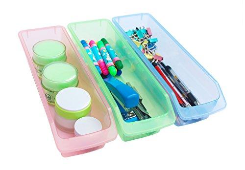 Honla Small Plastic Drawer Organizer TraysBins-Set of 3-Clear Drawer Dividers for Kitchen CabinetBathroom VanityOffice DeskDesktop Storage Organization-PinkLime GreenLight Blue12-Inch