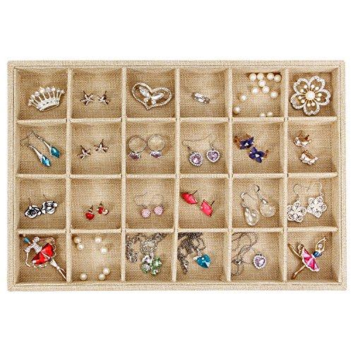 Valdler Sackcloth Stackable 24 Grid Jewelry Tray Showcase Display Organizer