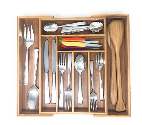 Brightways Home Expandable Bamboo Kitchen Drawer Organizer- Use As a Cutlery Tray-Utensil Organizer-And Flatware Organizer