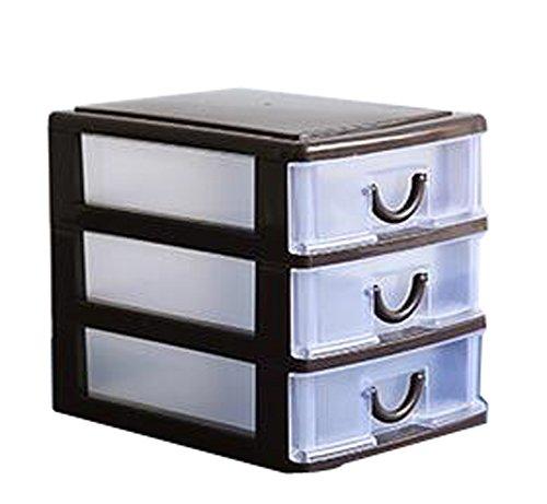 Cheap Office Plastic Desktop Storage Drawer Organizer-3 Storage Cabinets Brown