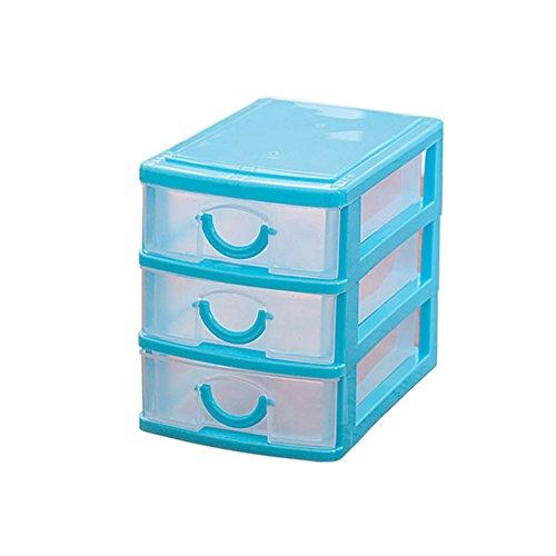 Homeleii Mini Desktop Drawer Storage Box Sundries Case Cosmetics Box Desktop Organizer 3 layers493545 inch Blue