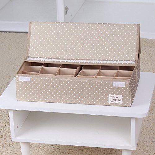 Sivin Dot Beige Foldable Storage Box Bra Underwear Closet Organizer Drawer Divider 24-CellsSpace adjusted freely 463112cm