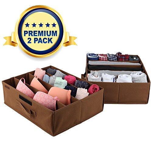 Underbed Storage Drawer Organizer - 2 Pack - Under Bed Storage Container Underbed Box Closet Dresser Organizer Bra Shoe Clothes Underwear Socks - Removable Dividers with Velcro Strips Light Brown