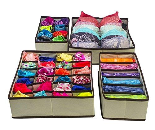 Underwear Closet Organizer Drawer Dividers Storage Boxes Under Bed Organizer Collapsible 4 Set