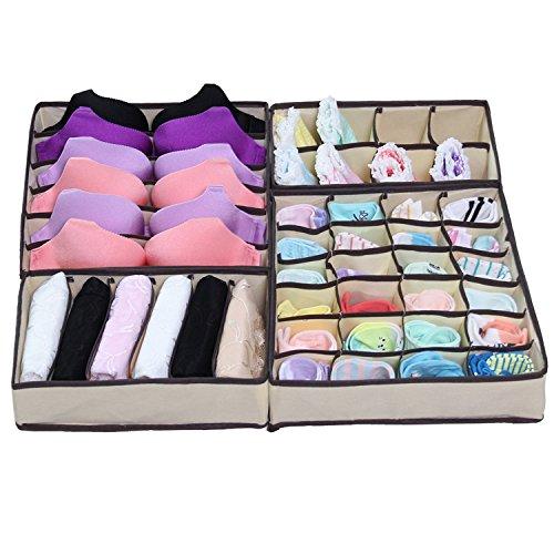 iYaYoo Bra Sock Underwear Drawer Organizer Foldable Closet Storage Boxes Dividers 4 Set Beige