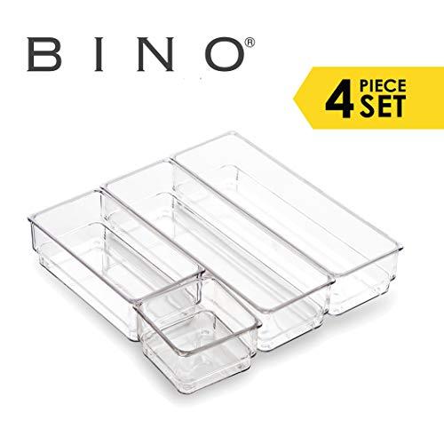 BINO 4-Tray Drawer Organizer Bin Pack - Clear Small  Multi-Purpose Storage  Durable  BPA-Free