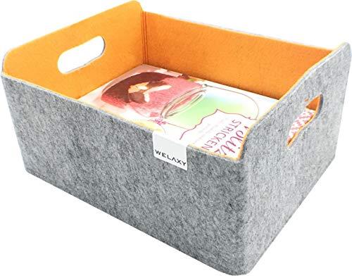WELAXY Felt Collapsible storage basket Foldable Storage Cube Basket bin Shelf baskets Bins Drawers Organizer bin Felt box for kids toys magazine books newspapers clothes Home Organizer  pumpkin