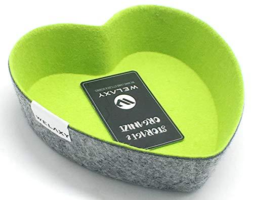 Welaxy Felt Office Drawer Organizer bin Heart Shape Green