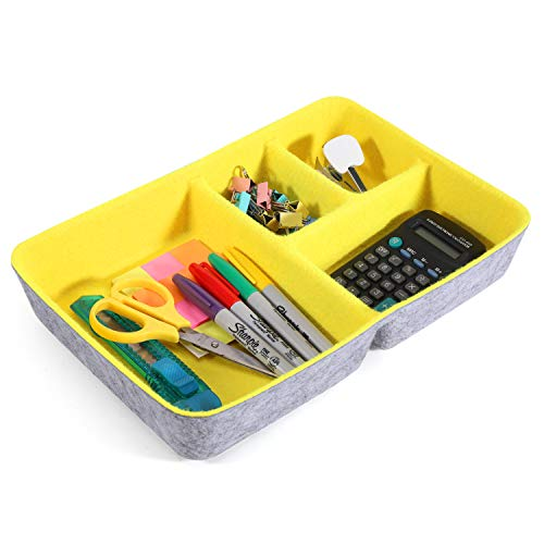 Welaxy Junk Drawer Organizer bin 4 Compartments Office Organizers Bins Felt Trays Drawers 4 dividers Multi-Purpose Storage Yellow
