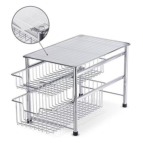 NEX 2-Tier Sliding Basket Organizer Drawer Under Sink Cabinet Kitchen Storage Drawers Bathroom Organizer Plating