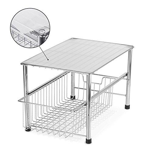 NEX Under Sink Cabinet Sliding Basket Organizer Kitchen Storage Drawers Bathroom Holder Plating