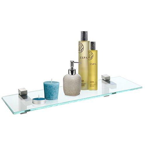 Modern Wall Mounted Clear Glass Metal Floating Shelf  Home Retail Display Rack - MyGift