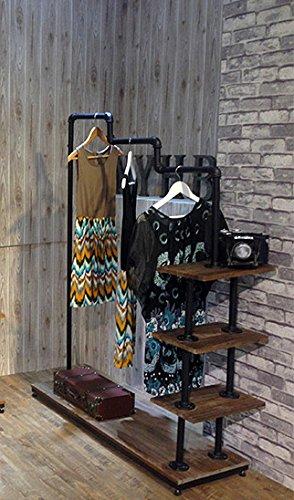 Industrial Pipe Clothing Rack Wood Garment Rack Pipeline Vintage Rolling Rack with wheels 4-LVL H63xL47