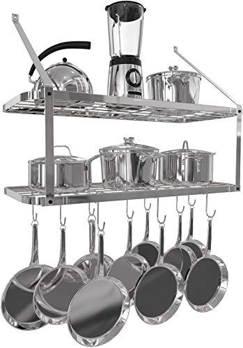 VDOMUS Shelf Pot Rack Wall Mounted Pan Hanging Racks 2 Tire Silver
