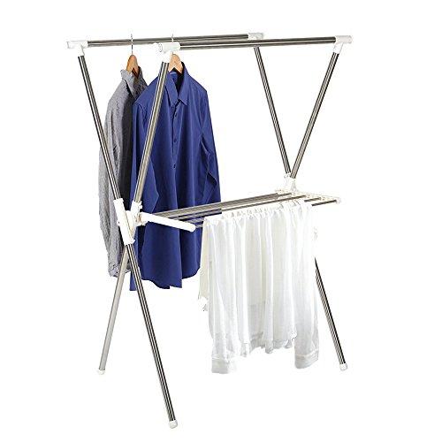 Lucky Tree 2-Tier Clothes Drying Rack X Shape Foldable Clothing Rack Sturdy Adjustable Garment Rack Laundry X Shape Rack