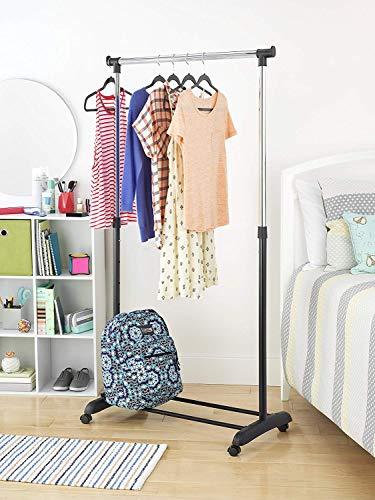 SSLine Adjustable Garment Rack Rolling Clothes Organizer Clothing Hanging Garment Rack with Shoe Shelf Single-Bar