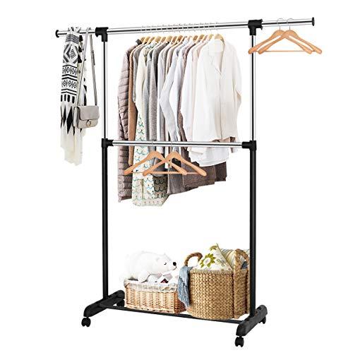 Tangkula Rolling Garment Rack Clothes Racks Organizer Adjustable Double Rod Garment Rack Clothes Hanger Stand Organizer