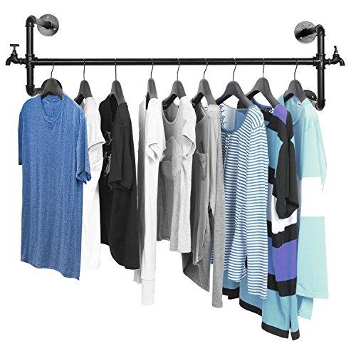 Black Metal Wall Mounted Faucet Design Closet Rod Garment Rack  Hanging Clothes Bar Display - MyGiftÂ