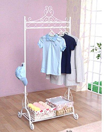 Generic NV_1008003703_YC-US2 oragend Clothes Hanging Cloth Garment Rack nging Stand Vintage d Vin Stand Closet White White Shelf Storage Garment