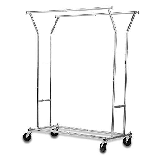 PloybeeShop Stainless Steel Garment Rack Adjustable with Wheels Rustless Clothing Hanger