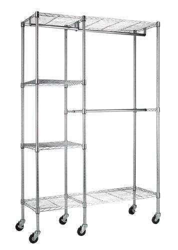Sandusky Lee EZGR4818-RW3 Steel Garment Rack 2 Adjustable Shelves 2 Adjustable Half Shelves 3 Garment Bars 6 Casters Chrome Finish 74 Height x 48 Width x 18 Depth