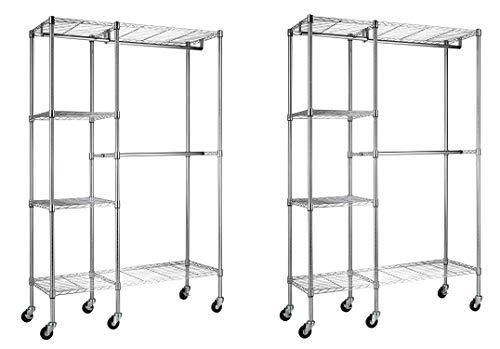 Sandusky Lee EZGR4818-RW3 Steel Garment Rack 2 Adjustable Shelves 2 Adjustable Half Shelves 3 Garment Bars 6 Casters Chrome Finish 74 Height x 48 Width x 18 Depth Pack of 2