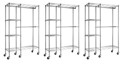 Sandusky Lee EZGR4818-RW3 Steel Garment Rack 2 Adjustable Shelves 2 Adjustable Half Shelves 3 Garment Bars 6 Casters Chrome Finish 74 Height x 48 Width x 18 Depth Pack of 3