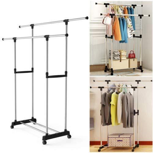 TNPSHOP Clothes Rack Garment Rod Hanger Stand Closet Storage Organizer Display Sturdy