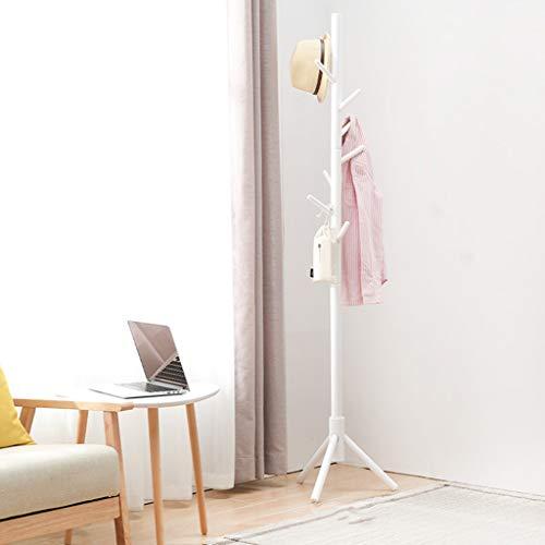 Solid Wood Coat Rack Floor-Standing Living Room Fashion Hanger Creative Bedroom Bag Rack Indoor Clothes RackWhite