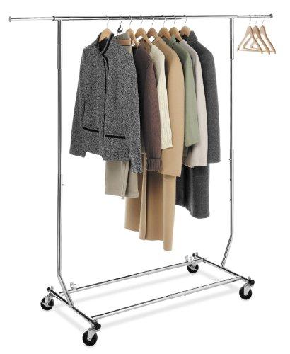 Folding Single Rail Garment Rack Chrome 66H x 48W x 2225D