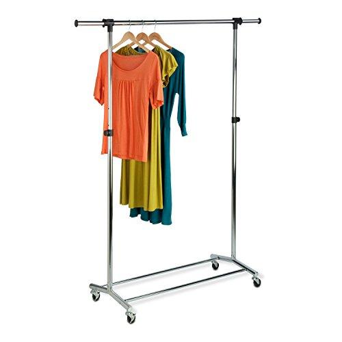 Honey-Can-Do GAR-01123 Garment Rack with Adjustable Bar and Steel Casters Chrome