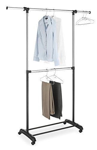 Whitmor Adjustable 2-Rod Garment Rack Black Chrome