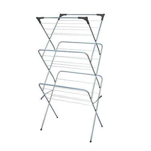Generic LQ8LQ3269LQ al Clot Metal Clothes ing Fol Folding 3 Tier und Laundry Drying rying R Sunbeam Free Standing Rack White US6-LQ-16Apr15-1966