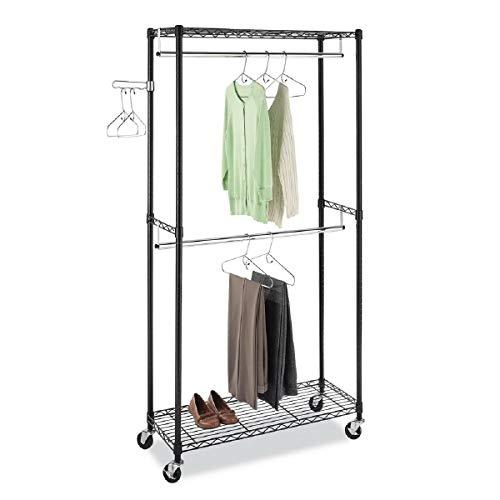 Yorell Heavy Duty Garment Rack Clothing Wire Shelving Clothing Free-Standing Cloth Closet Storage Organizer with Hanging Rod Metal Coat Rack 354 x 177 x 709inch Black