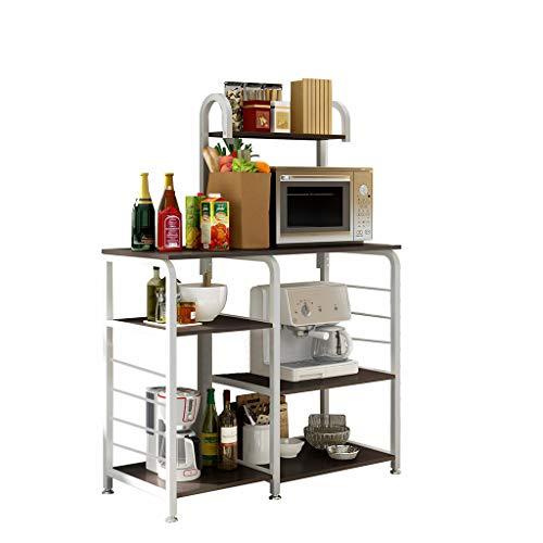 Airpow Kitchen Storage Rack - Kitchen Bakers Rack Utility Storage Shelf 355 Microwave Stand 4-Tier3-Tier Shelf for Spice Rack Organizer Workstation with 5 Hooks Black Shipped From USA