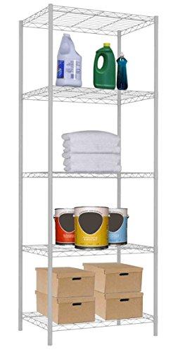 Home Basics None 5 Tier Steel Wire Shelf Heavy Duty Storage Organizer Shelving Unit Utility Rack for Home Garage Kitchen Basement Office White