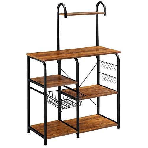 Mr IRONSTONE Vintage Kitchen Bakers Rack Utility Storage Shelf 355 Microwave Stand 4-Tier3-Tier Shelf for Spice Rack Organizer Workstation with 10 Hooks