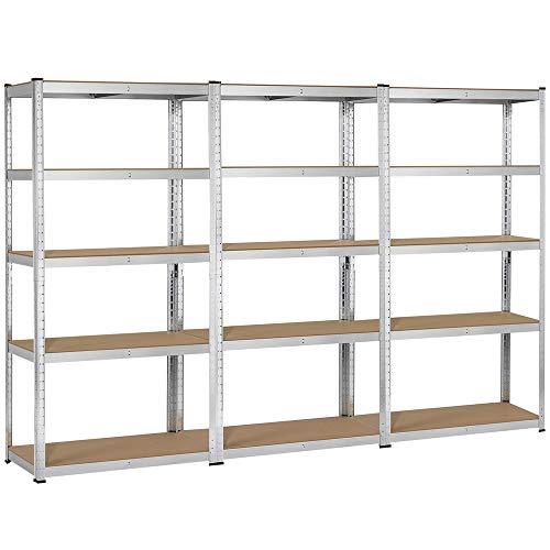 Yaheetech 3 Packs Adjustable 5-Shelf Garage Shelving Unit Steel Boltless Storage Shelf Utility Rack Display Stand for HomeOfficeDormitoryGarage 71 inch Height