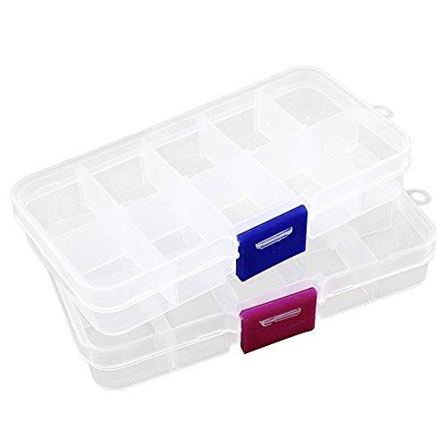 2pcs Plastic Jewelry fishing hook Small Accessories Organizer 10 Adjustable clearly Storage box