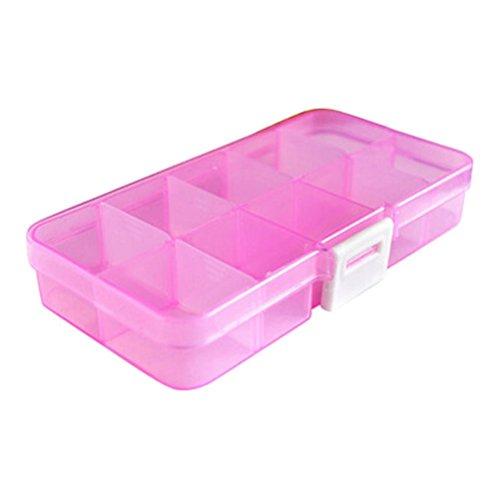 FinalZ 15 Grid Plastic Adjustable Jewelry Box Jewelry Storage Organizer Box with Removable Dividers Pink