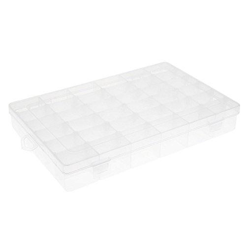 SOLEDI Storage Box 36 Grids Clear Plastic Jewelry Box Organizer Storage Container