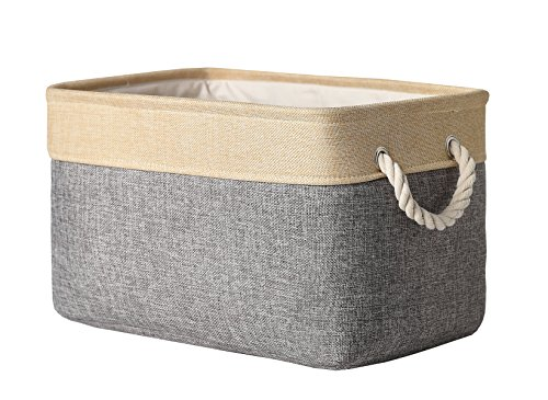 TheWarmHome Decorative Collapsible Rectangular Fabric Storage Bin Organizer Basket with Handles for Clothes StorageToy OrganizerPet Toy StoringKids Basket Baby BinGrey