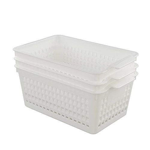 Fiaze 3-Pack White Plastic Storage Bin  Basket Organizer Medium
