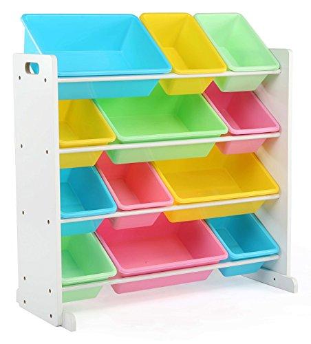 Tot Tutors Kids Toy Storage Organizer with 12 Plastic Bins WhitePastel Pastel Collection