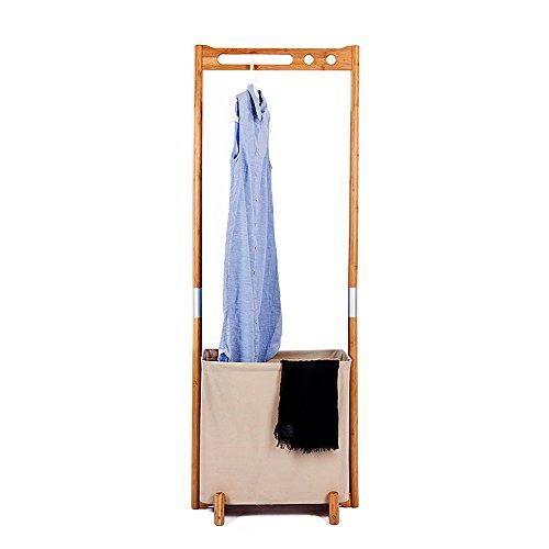 Segarty Wood Garment Racks - Multifunctional Clothes Drying Rack with Foldable Laundry Hamper - Portable Hanger Clothing Storage Organizer